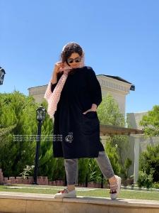 مانتو الیاف طبیعی مدل پیراهنی بلند