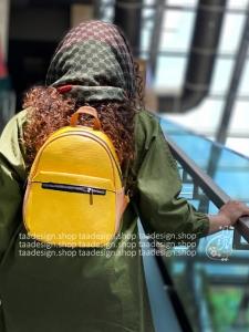 کوله پشتی چرمی مدل ترنم - ترکیب زرد و قهوه ای