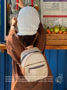 کوله پشتی چرمی مدل ترنم - ترکیب موشی و قهوه ای
