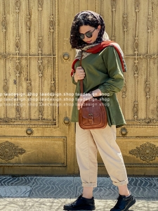 کیف دوشی3کاره چرمی دخترانه قهوه ای عسلی