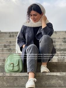 کیف دوشی3کاره چرمی دخترانه سبزپاستیلی
