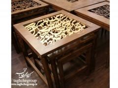 میز عسلی کالیگرافی با متن طلایی