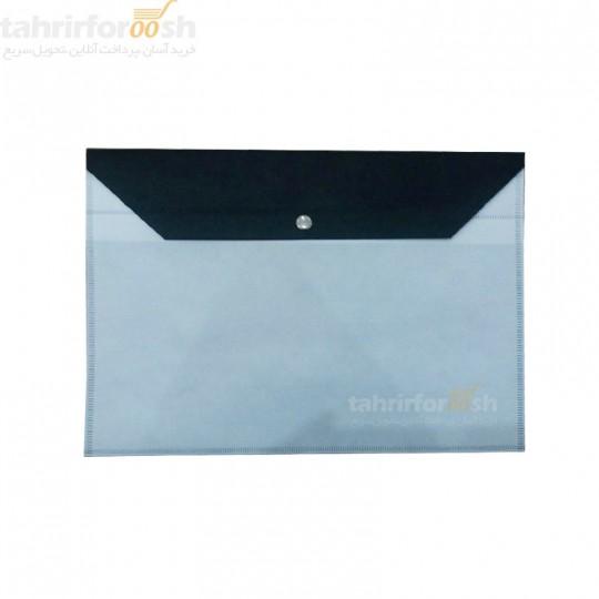 پوشه دکمه دار پارچه ای دو رنگ سفید مشکی بسته 100 عددی