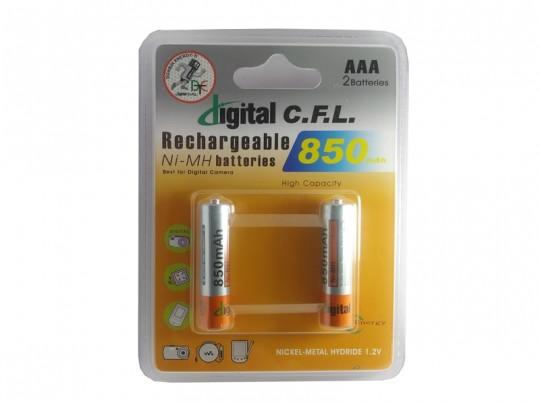 باطری شارژی نیم قلمی  CFL-850mah