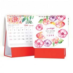 تقویم رومیزی مثلثی طرح گل پایه قرمز کد710