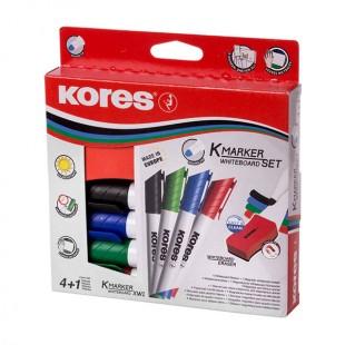 ماژیک وایت برد kores بسته 4 رنگ به همراه تخته پاکن
