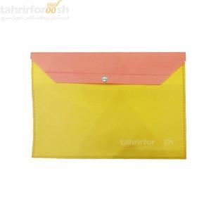 پوشه دکمه دار پارچه ای دو رنگ نارنجی زرد بسته 100 عددی