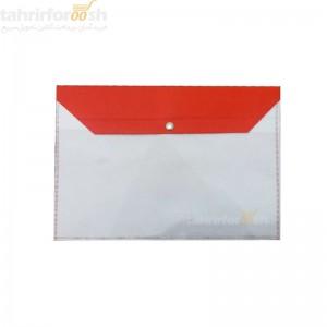 پوشه دکمه دار پارچه ای دو رنگ قرمز سفید بسته 100 عددی