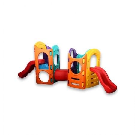 مجموعه پلی اتیلنی دو سرسره و دو برج بازی کودک