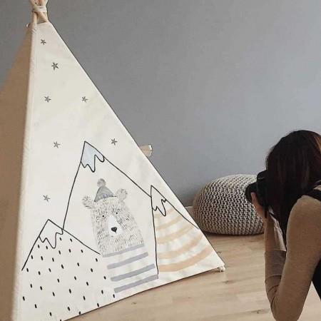 چادر بازی کودک مدل سرخپوستی طرح خرس کوهستان