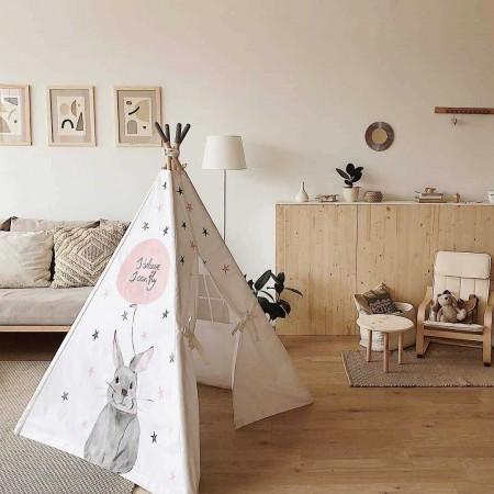 چادر بازی کودک مدل سرخپوستی طرح خرگوش خاکستری