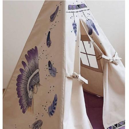 چادر بازی کودک مدل سرخپوستی طرح سرخپوست آمریکایی با تشک