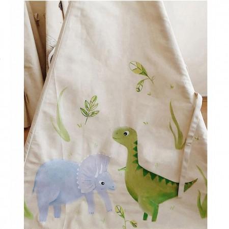چادر بازی کودک مدل سرخپوستی با کفی زیر انداز طرح دایناسور