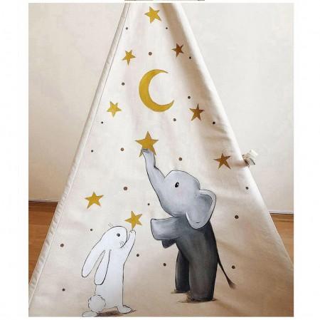 چادر بازی کودک مدل سرخپوستی طرح فیل و خرگوش