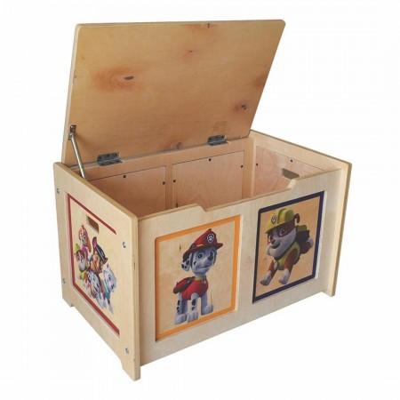 باکس چوبی اسباب بازی با قابلیت استفاده به عنوان صندلی (طرح سگ های نگهبان)