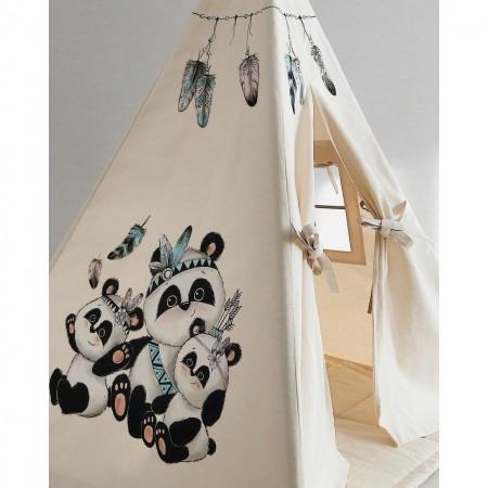چادر بازی کودک سرخپوستی پنجره دار طرح پاندای کونگ فو کار