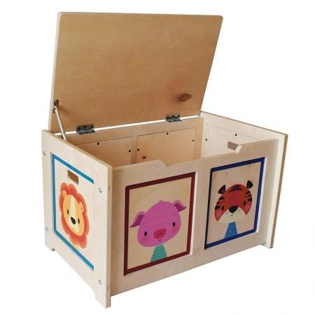 باکس اسباب بازی چوبی با قابلیت استفاده به عنوان نیمکت (طرح حیوانات)