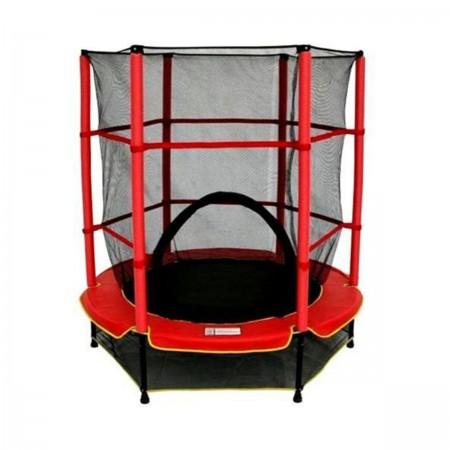 ترامپولین حفاط دار خانگی کودک قطر 140 سانتی متر با کش بانجی رنگ قرمز
