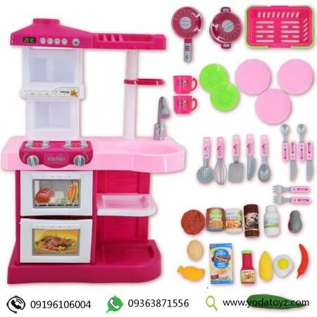 آشپزخانه بچه گانه واقعی رنگ صورتی برند little chef play kitchen مدل wdp17