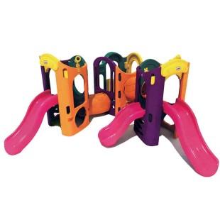 مجموعه پلی اتیلنی سه سرسره و سه برج بازی کودک