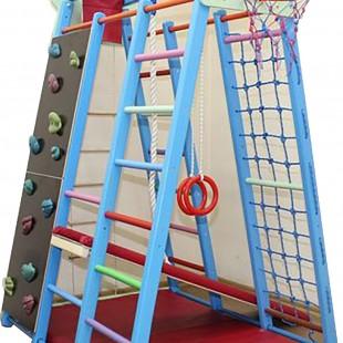 مجموعه چوبی ورزشی سازه نردبان و سرسره و حلقه بسکتبال کد 1202
