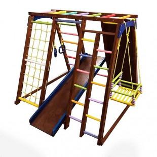 مجموعه چوبی ورزشی سازه نردبان و تاب و سرسره کد 1205