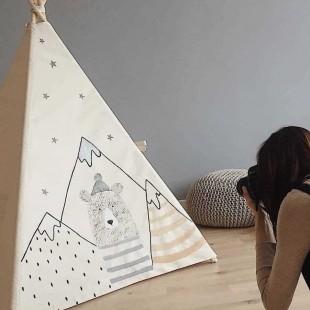 چادر بازی کودک مدل سرخپوستی طرح خرس کوهستان با کفی زیر انداز