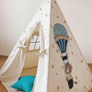 چادر بازی کودک مدل سرخپوستی طرح شیر بالن سوار
