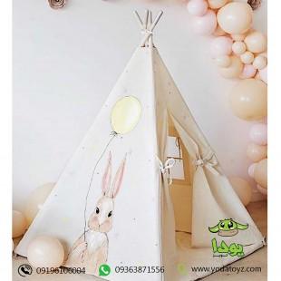 چادر سرخپوستی کودک طرح خرگوش صورتی با تشک