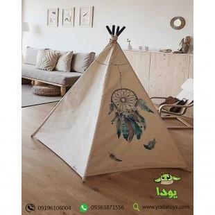 چادر بازی کودک مدل سرخپوستی طرح نشان سرخپوست آمریکایی