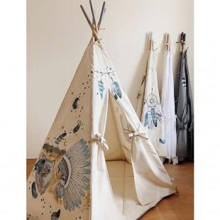 چادر بازی کودک مدل سرخپوستی طرح سرخپوست آمریکایی با گرگ سفید