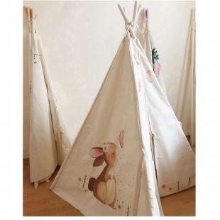 چادر بازی کودک مدل سرخپوستی طرح خرگوش و پروانه با تشک