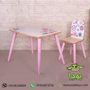 ست میز و صندلی چوبی کودک دخترانه