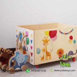 باکس اسباب بازی چوبی چرخدار اتاق کودک