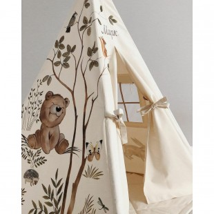 چادر بازی سرخپوستی پنجره دار کودک طرح خرس مهربون