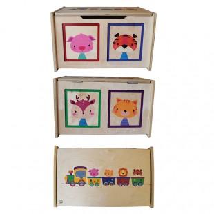 باکس چوبی اسباب بازی با قابلیت استفاده به عنوان صندلی