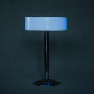میز نورانی گرد مدل سوارز پایه استیل سکه ای