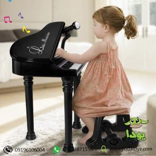 پیانو اسباب بازی مشکی با صندلی و میکروفن سایز بزرگ برند BAOLI