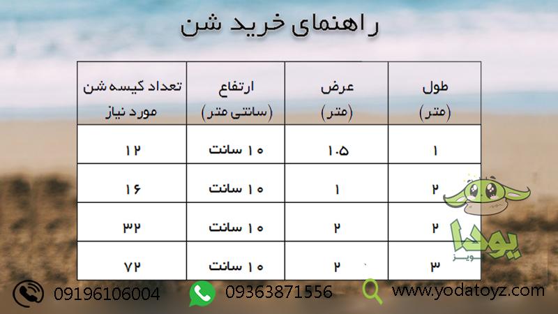 جدول راهنمای خرید شن بازی کودک