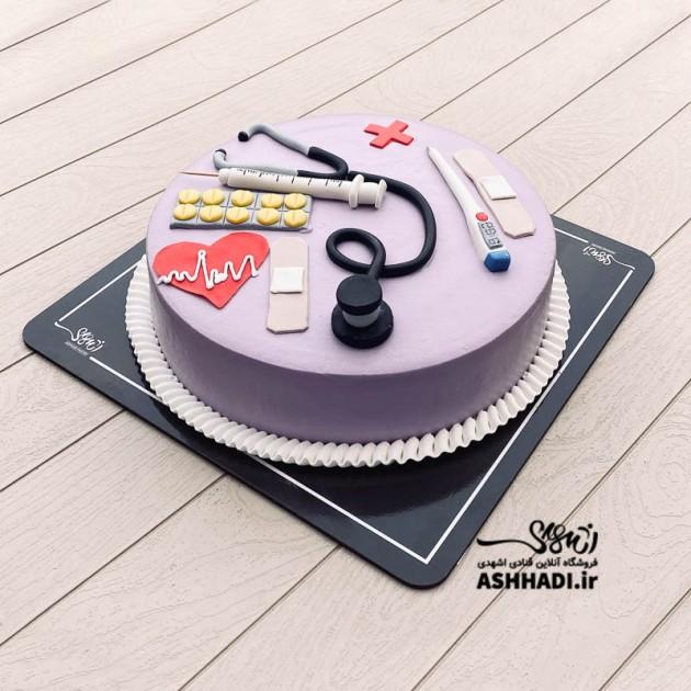 کیک خامه فوندانت روز پزشک کد 02
