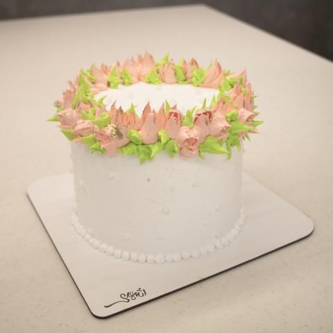 کیک خامه گل رنگی
