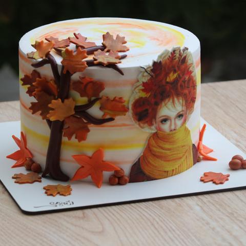 کیک خامه فوندانت پاییزی