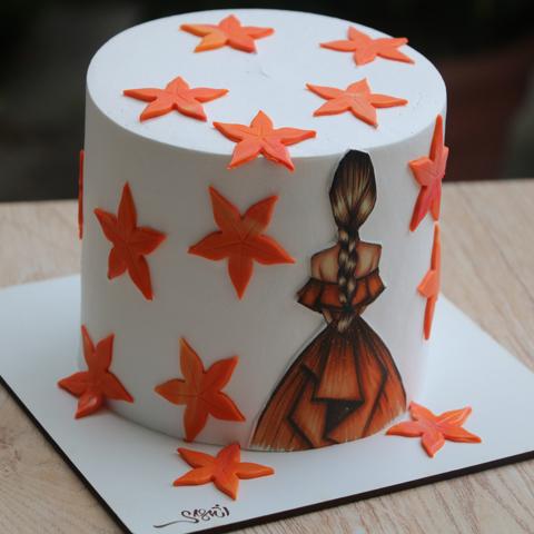 کیک خامه فوندانت پاییزی2