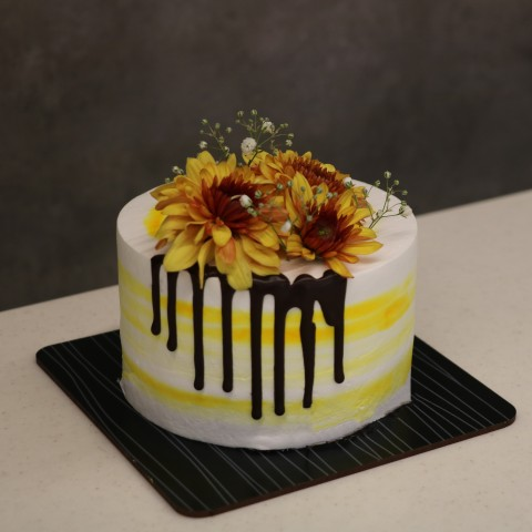 کیک گل طبیعی پاییزی