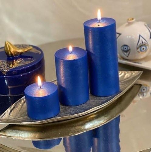 شمع ست استوانه ای متالیک رنگ آبی لاجوردی