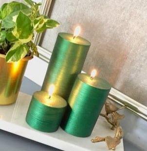 شمع ست استوانه ای متالیک رنگ سبز زمردی