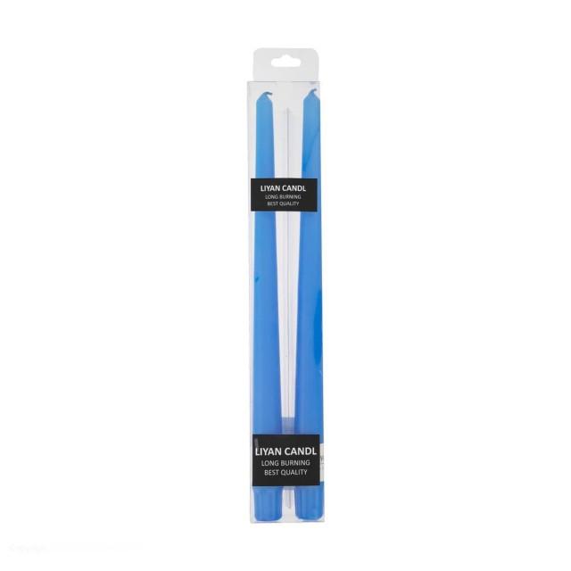 شمع قلمی رنگ آبی بسته دو عددی(ارتفاع 30cm)