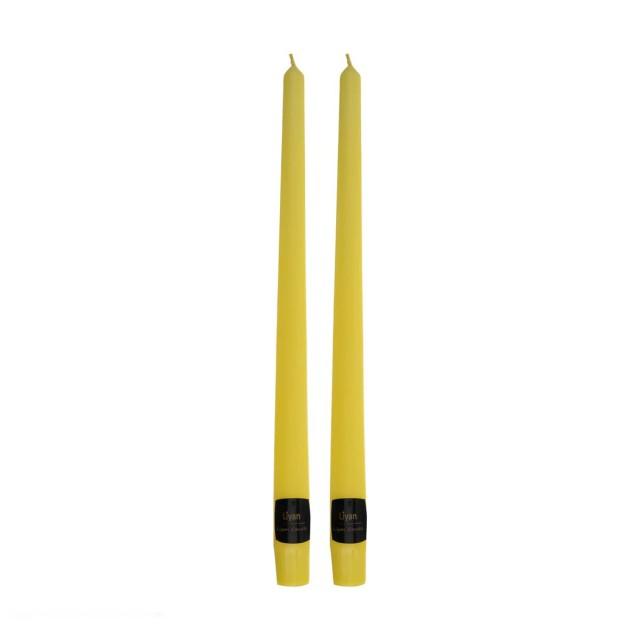 شمع قلمی رنگ زرد بسته دو عددی(ارتفاع 30cm)
