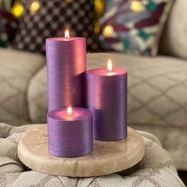 شمع ست استوانه ای متالیک رنگ یاسی