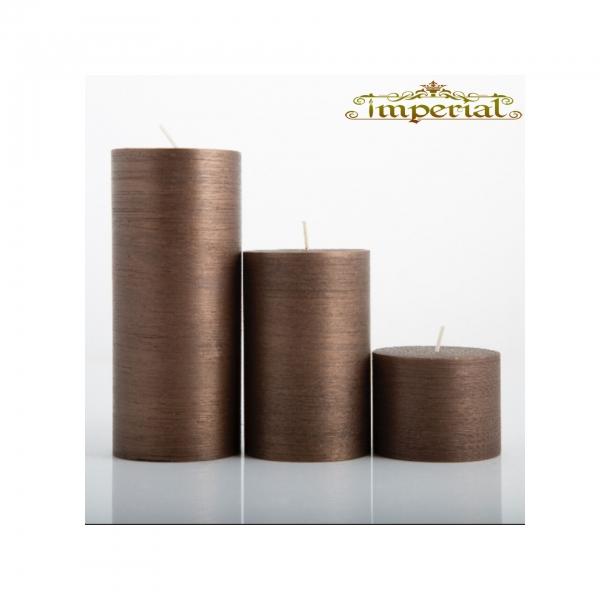 شمع ست استوانه ای متالیک رنگ شکلاتی